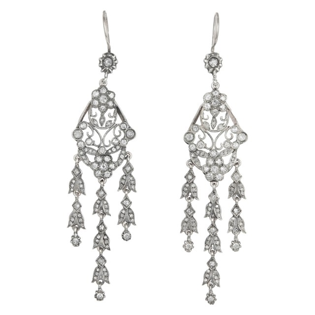 Pair of Silver, Low Karat Gold and Diamond Pendant Earrings