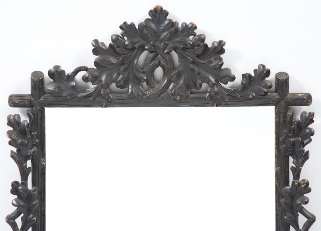 Oak Leaf and Acorn Carved Rustic Mirror
