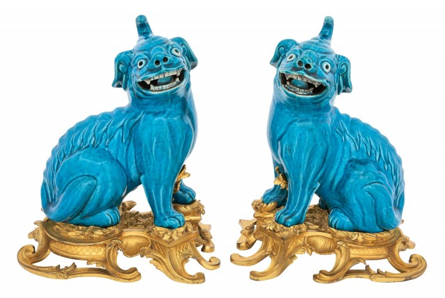 Pair of Gilt-Bronze Mounted Chinese Turquoise Glazed Porcelain Fu Lions