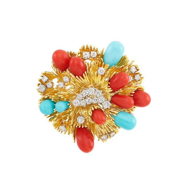 Gold, Platinum, Diamond, Coral and Turquoise Clip-Brooch, Tiffany & Co.