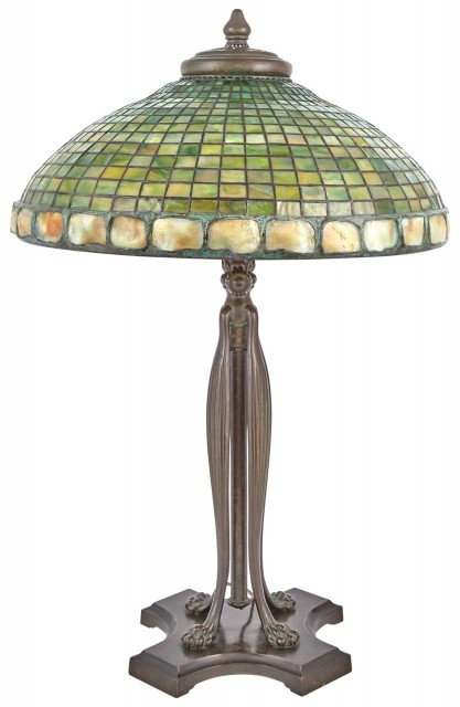 Tiffany Studios Bronze and Leaded Favrile Glass Geometric and Turtleback Library Lamp