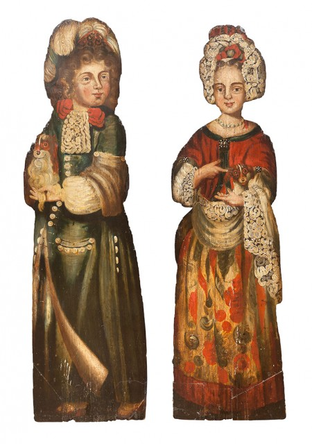 Pair of Anglo-Dutch Polychrome-Painted Dummy Boards