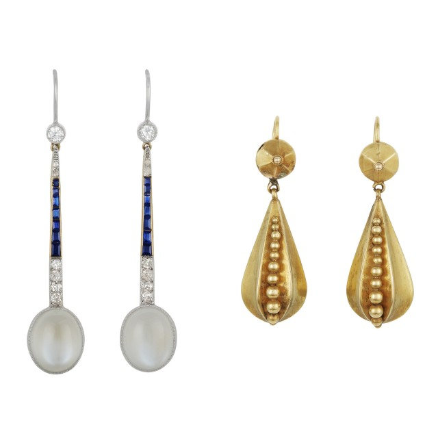 Pair of Platinum, Gold, Moonstone, Sapphire and Diamond Pendant Earrings and Pair of Victorian Gold Earrings