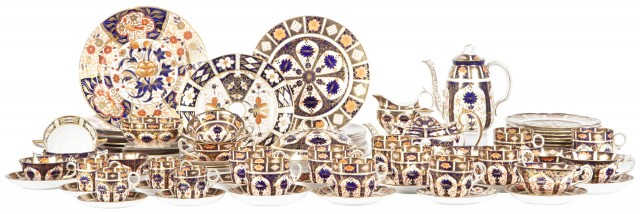 Royal Crown Derby Imari Pattern Porcelain Dessert Service; Together with Six Older Royal Crown Derby Imari Pattern Porcelain Plates