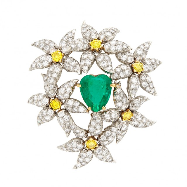 Platinum, Gold, Emerald, Diamond and Yellow Diamond \'Cluster of Flowers\' Clip-Brooch, Tiffany & Co., Schlumberger