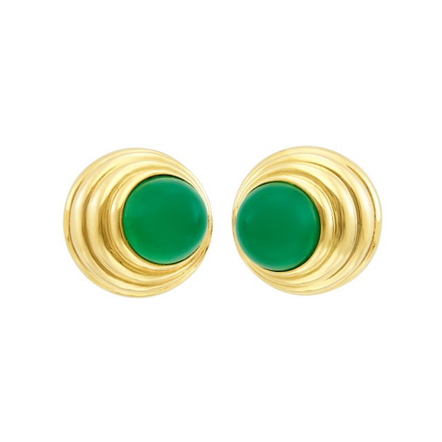 Pair of Gold and Green Onyx Earclips, Van Cleef and Arpels