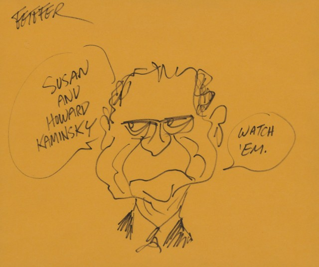 FEIFFER, JULES  Inscribed illustration depicting Richard Nixon