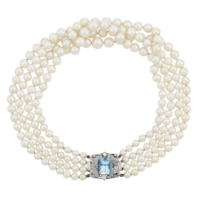 Multistrand White Gold, Cultured Pearl, Aquamarine and Diamond Necklace