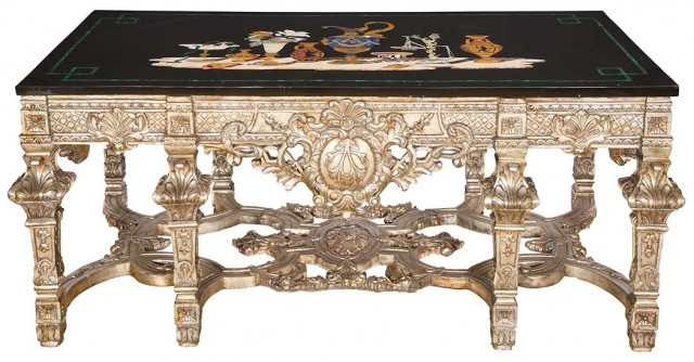 Louis XIV Style Silvered-Wood Table with Pietra Dura and Pietra Dura Style Top