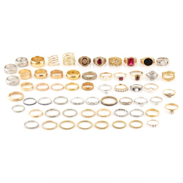 Group of Two-Color Gold, Platinum, Low Karat Gold, Diamond and Gem-Set Rings