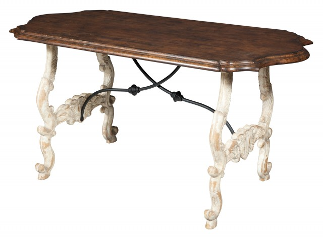 Continental Walnut and Painted Wrought-Iron Mounted Trestle Table