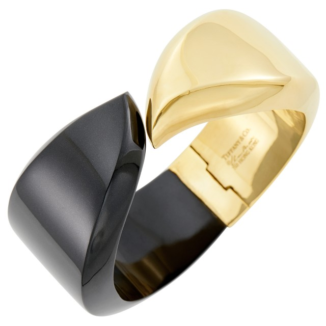 Tiffany and Co., Elsa Peretti Gold and Black Jade Cuff Bangle Bracelet