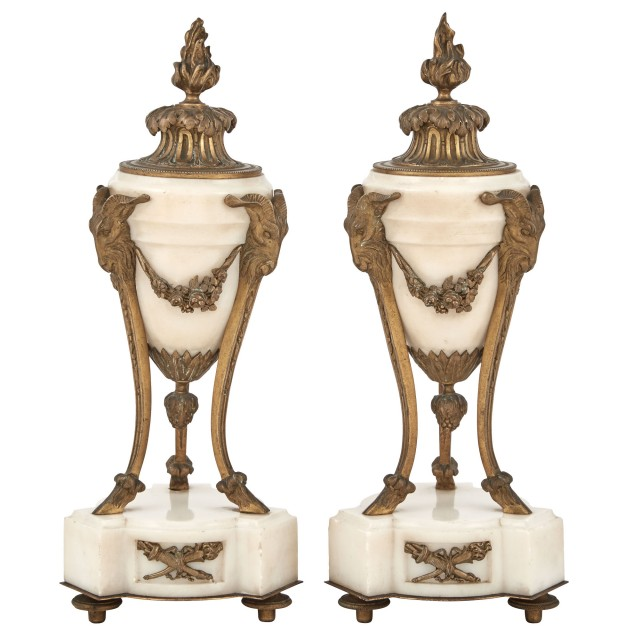 Pair of Louis XVI Style Gilt-Bronze and White Marble Urn-Form Cassolettes with Flaming Torch-Form Covers