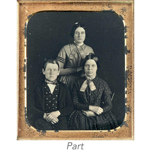 [CASED IMAGES-PORTRAITS]  Group of six images of parents and children.