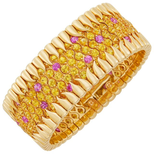 Gold, Yellow and Pink Sapphire Cuff Bracelet, Tiffany and Co., Schlumberger, France