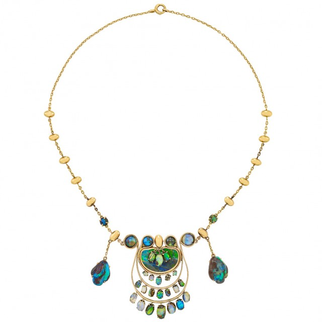 Arts and Crafts Gold and Opal Necklace, Louis Comfort Tiffany