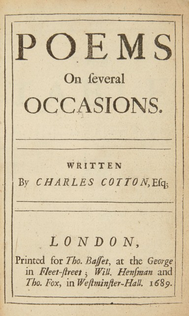 COTTON, CHARLES  Poems on several occasions.