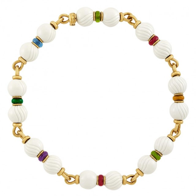 Gold, White Porcelain Bead and Multicolored Stone Bead 'Chandra' Necklace, Bulgari