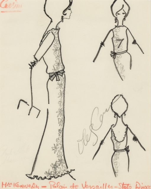 "CASSINI, OLEG  Fashion sketch titled ""Mrs. Kennedy-Palais de Versailles-State Dinner."""