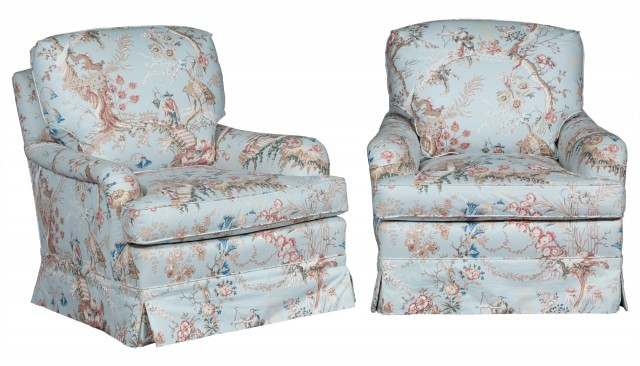 Pair of Chintz-Upholstered Club Chairs