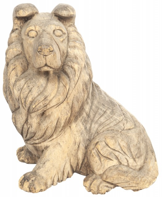 Carved Wood Figure of a Dog