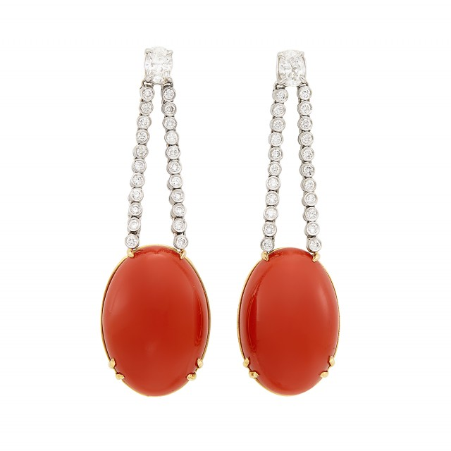 Pair of Platinum, Gold, Diamond and Coral Pendant-Earrings