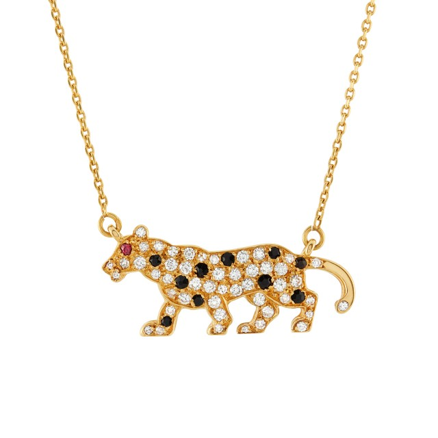 Gold, Black Onyx and Diamond Panther Pendant and Chain