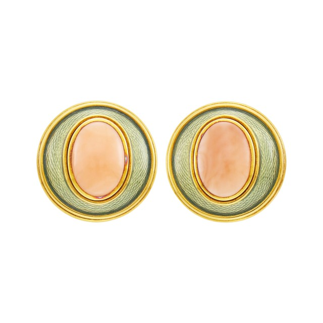 Leo De Vroomen Pair of Gold, Coral and Enamel Earclips