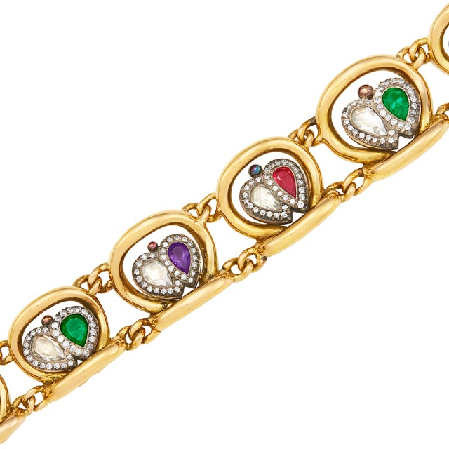 Antique Gold, Silver, Diamond and Colored Stone Acrostic Bracelet