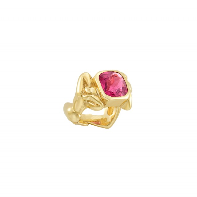 Gold and Pink Tourmaline Figural Ring
