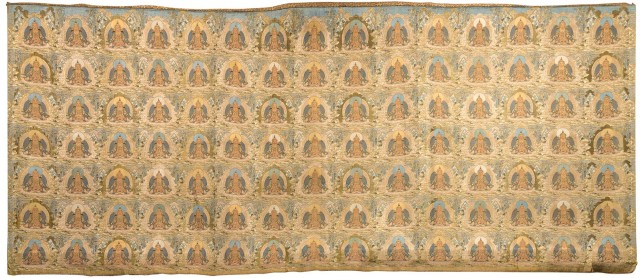 Imperial Tibetan Gold Woven Tapestry Hanging of the 'One-Thousand' Buddhas