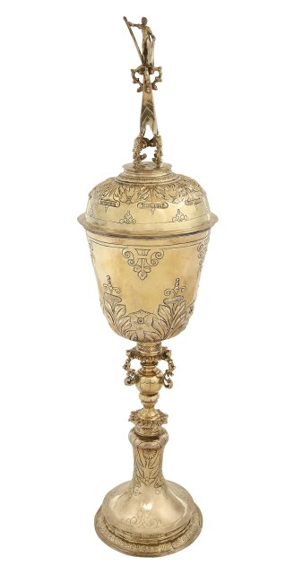 James I Sterling Silver-Gilt Steeple Cup and Cover