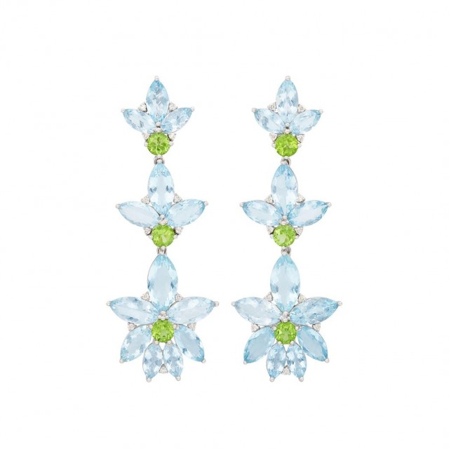 Pair of Gold, Aquamarine, Peridot and Diamond Pendant-Earclips