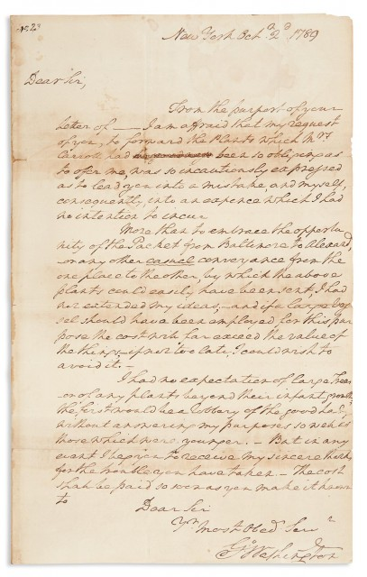 WASHINGTON, GEORGE  Autograph letter signed as President to Otho Holland Williams regarding a shipment of Fruit Trees from Mount Clara to Mount Vernon.