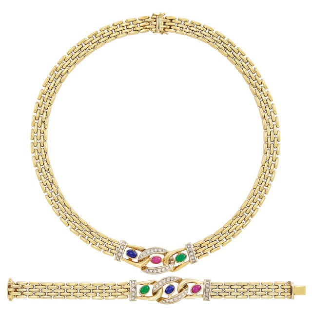 Gold, Cabochon Gem-Set and Diamond Necklace and Bracelet