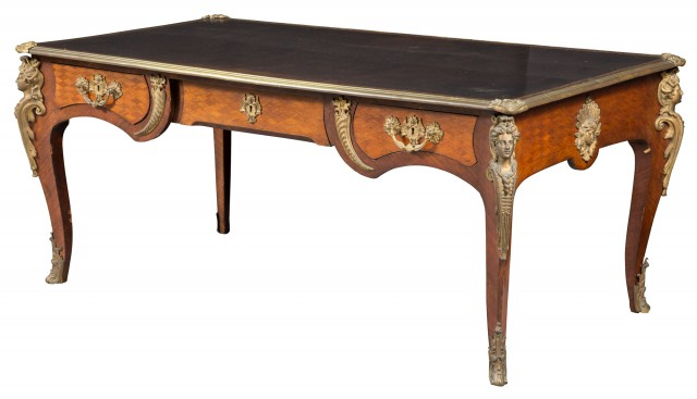Louis XV Style Gilt-Metal Mounted Kingwood Parquetry Bureau Plat
