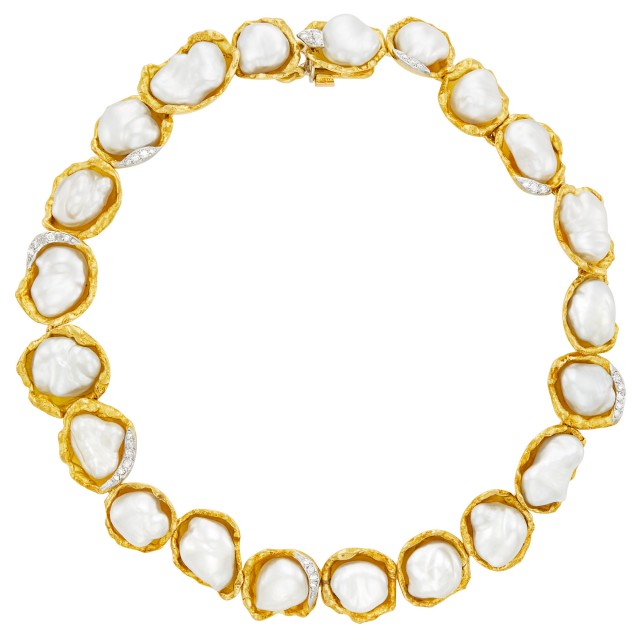Gold, Platinum, Baroque South Sea Cultured Pearl and Diamond Necklace, Andrew Grima