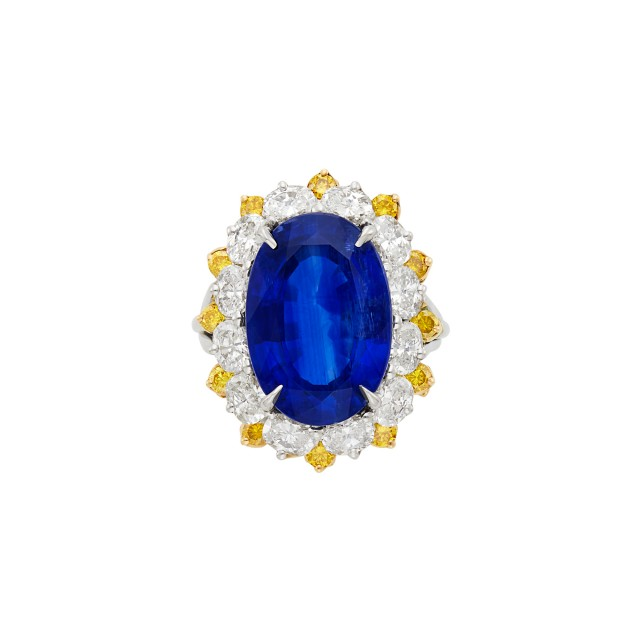 Platinum, Gold, Sapphire, Diamond and Yellow Diamond Ring, Oscar Heyman Brothers