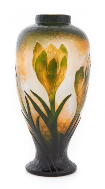 Daum Art Nouveau Acid-Etched and Fire Polished Cameo Glass Crocus Vase