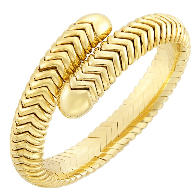Gold Crossover Bangle Bracelet
