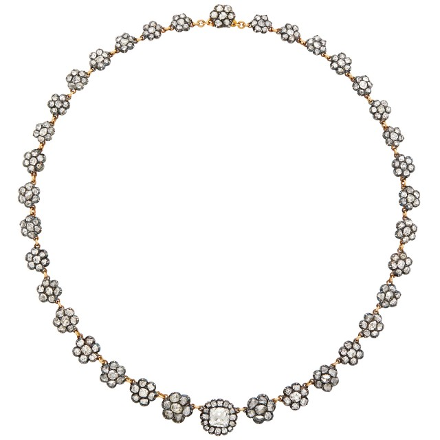 Silver, Gold and Diamond Floret Necklace