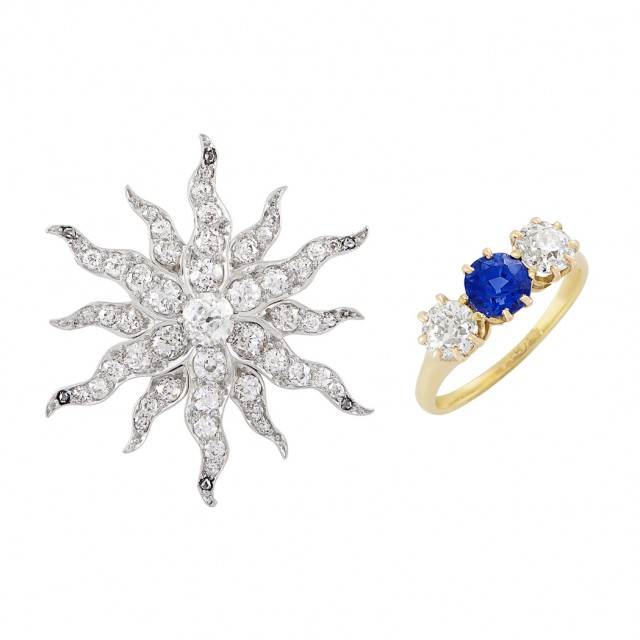 Antique Platinum-Topped Gold and Diamond Starburst Pin and Antique Gold, Diamond and Sapphire Ring