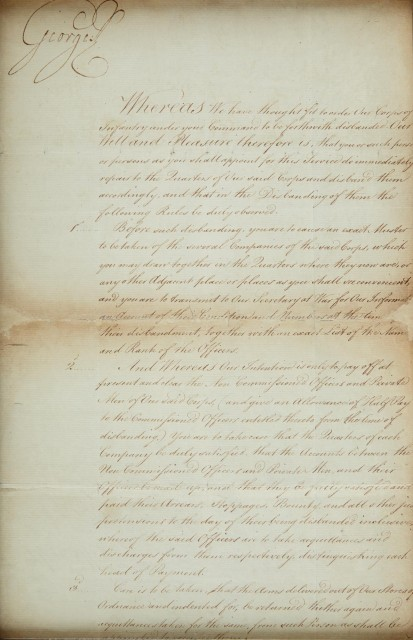 KING GEORGE III  Document signed ordering the disbandment of an Infantry Corps.