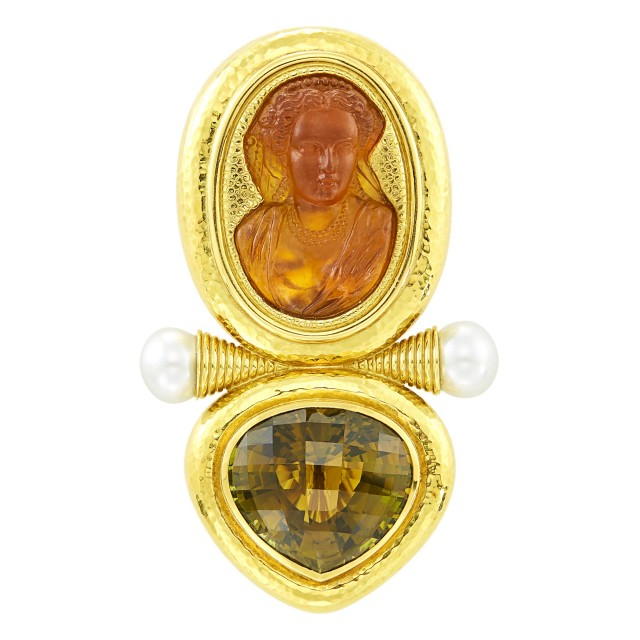 Elizabeth Gage Hammered Gold, Citrine Cameo, Smoky Quartz and Cultured Pearl Brooch