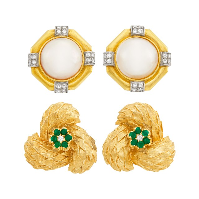 Pair of Gold, Green Onyx and Diamond Earclips and Gold, Mabé Pearl and Diamond Earclips