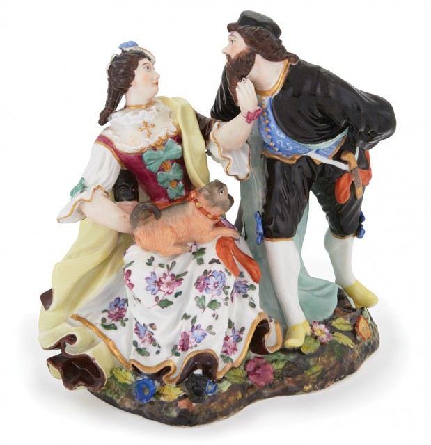 Russian Porcelain Group of Pantalone and Colombina