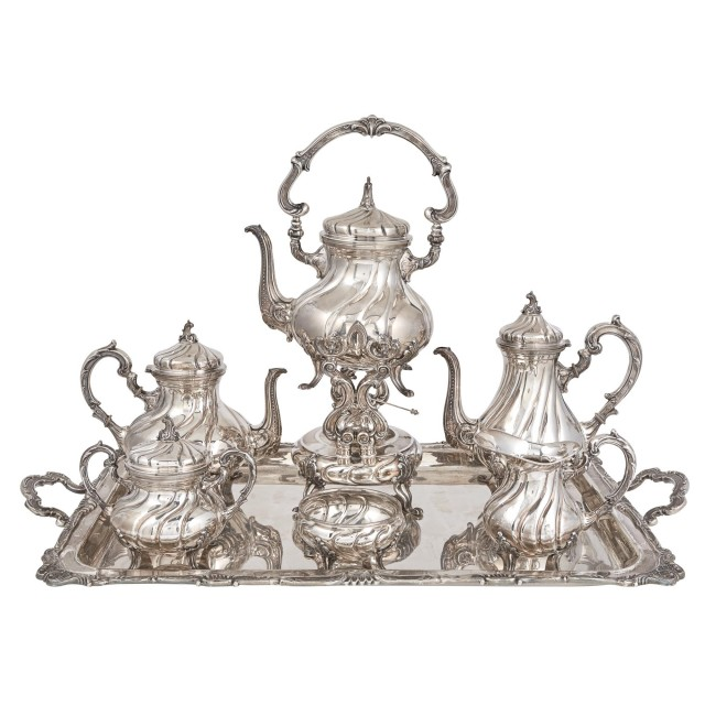 Camusso Rococo Style Sterling Silver Coffee and Tea Service