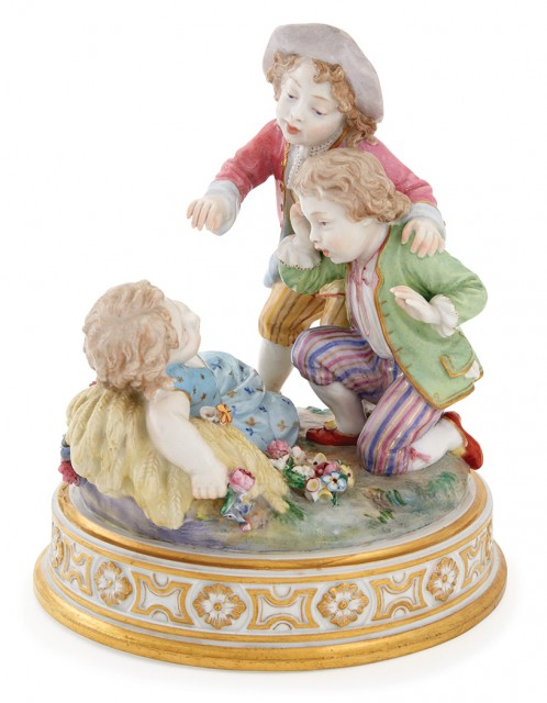 Rare Russian Porcelain Group of Pranksters