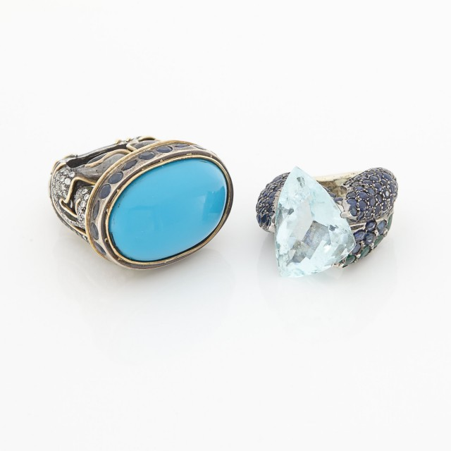 Silver, Aquamarine, Sapphire and Emerald Ring and Turquoise Composite, Sapphire and Diamond Ring