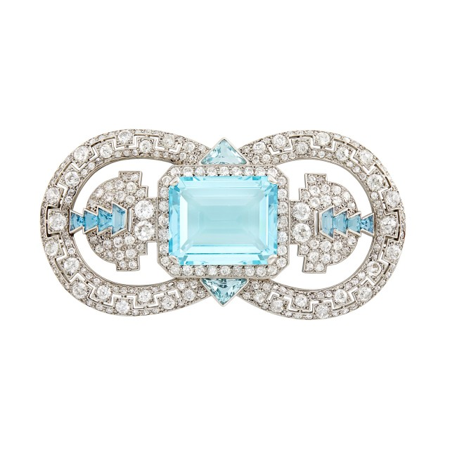Cartier London Platinum, Aquamarine and Diamond Brooch